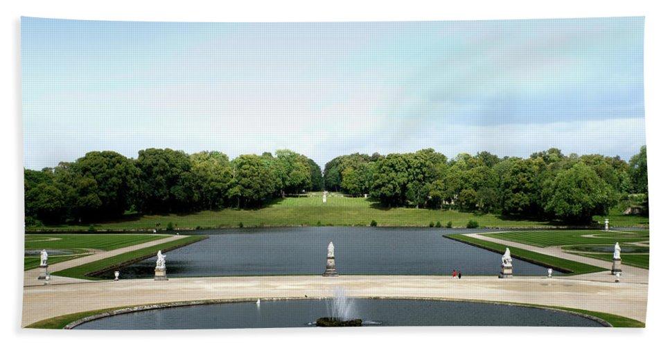 Castle Bath Sheet featuring the digital art Chantilly Castle Garden In France by Carol Ailles