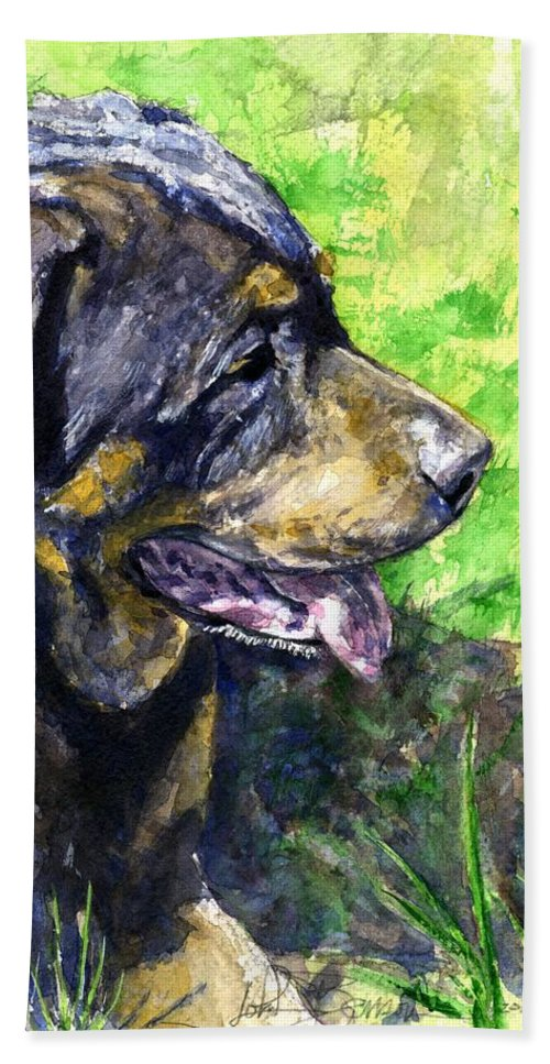 Rottweiler Hand Towel featuring the painting Chaos by John D Benson