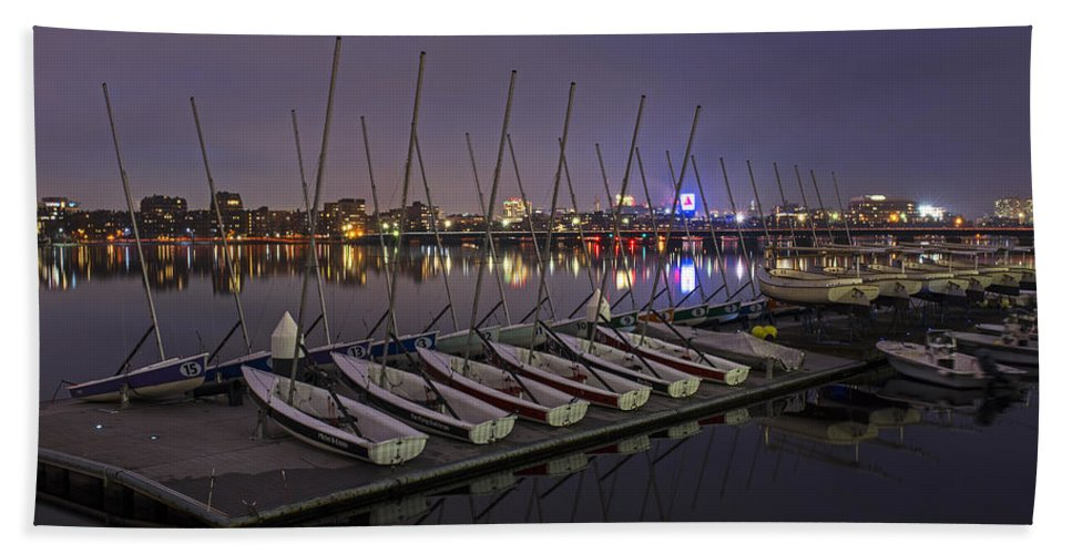 Boston Hand Towel featuring the photograph Charles River Boats Clear Water Reflection by Toby McGuire