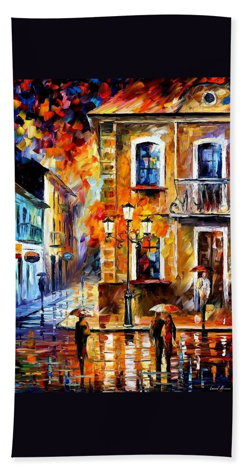 Afremov Bath Sheet featuring the painting Charming Night by Leonid Afremov