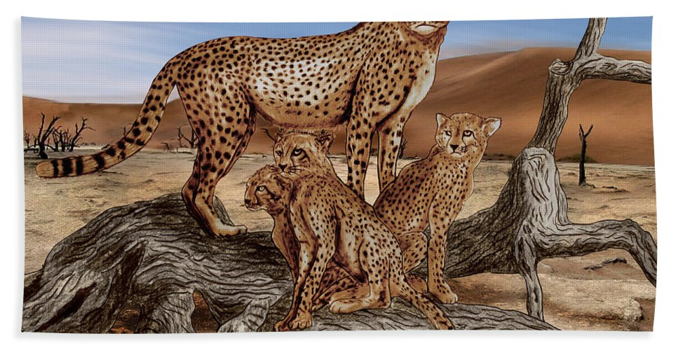 Cheetah Family Tree Hand Towel featuring the drawing Cheetah Family Tree by Peter Piatt