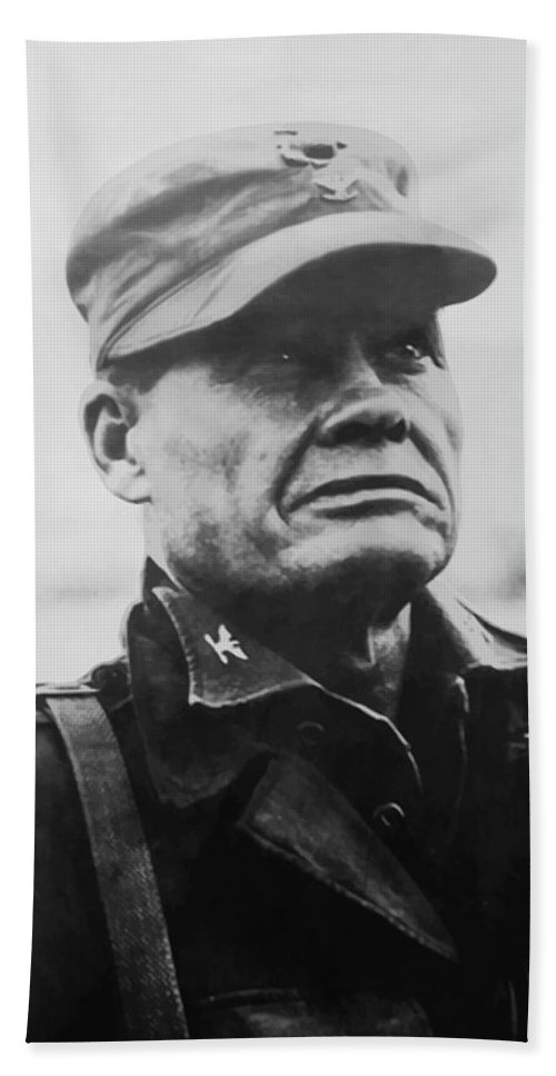 Chesty Puller Bath Towel featuring the painting Chesty Puller 1 by War Is Hell Store