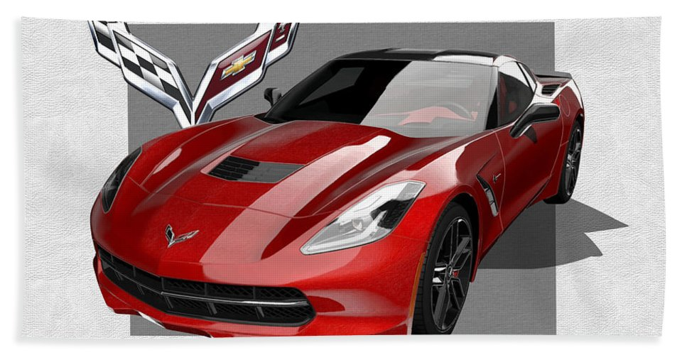 �chevrolet Corvette� By Serge Averbukh Hand Towel featuring the photograph Chevrolet Corvette C 7 Stingray with 3 D Badge by Serge Averbukh