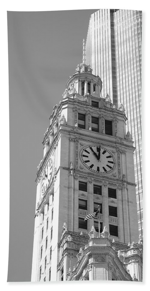 America Hand Towel featuring the photograph Chicago Clocktower by Frank Romeo