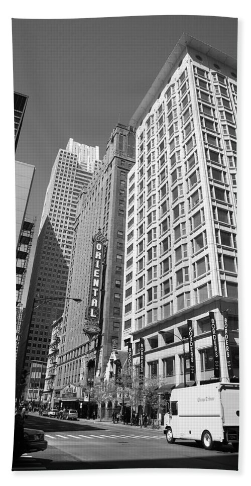 America Hand Towel featuring the photograph Chicago Downtown by Frank Romeo