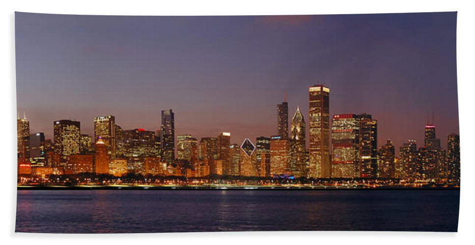 Chicago Skyline Bath Sheet featuring the photograph Chicago Skyline At Dusk Panorama by Jon Holiday