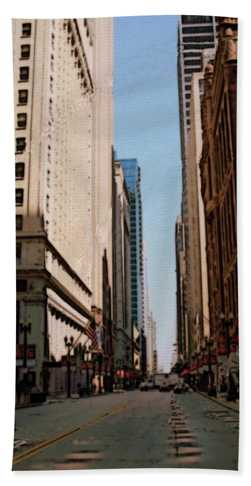 Chicago Bath Towel featuring the digital art Chicago Street With Flags by Anita Burgermeister