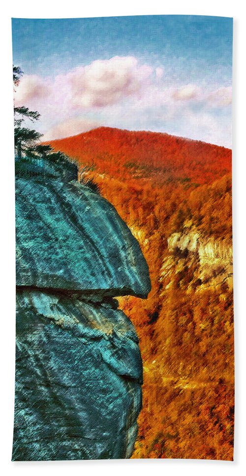 Landscape Hand Towel featuring the painting Chimney Rock by Steve Karol