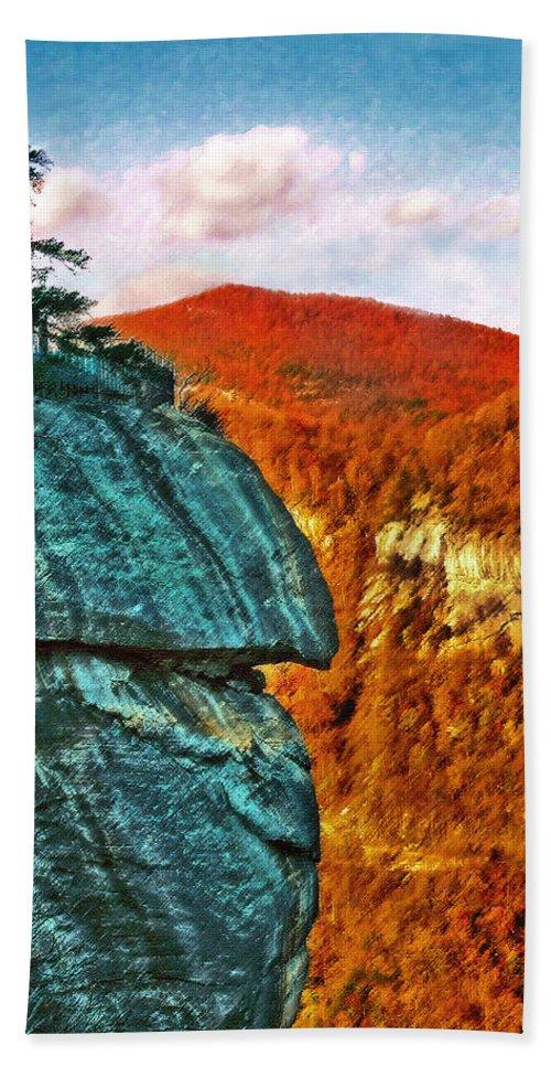Landscape Bath Sheet featuring the painting Chimney Rock by Steve Karol