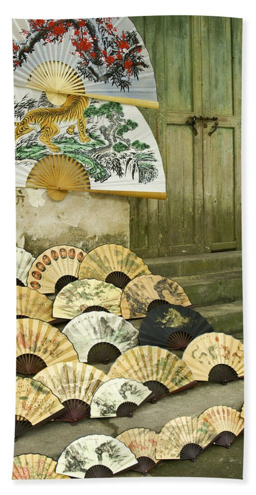 Asia Bath Towel featuring the photograph Chinese Fans by Michele Burgess