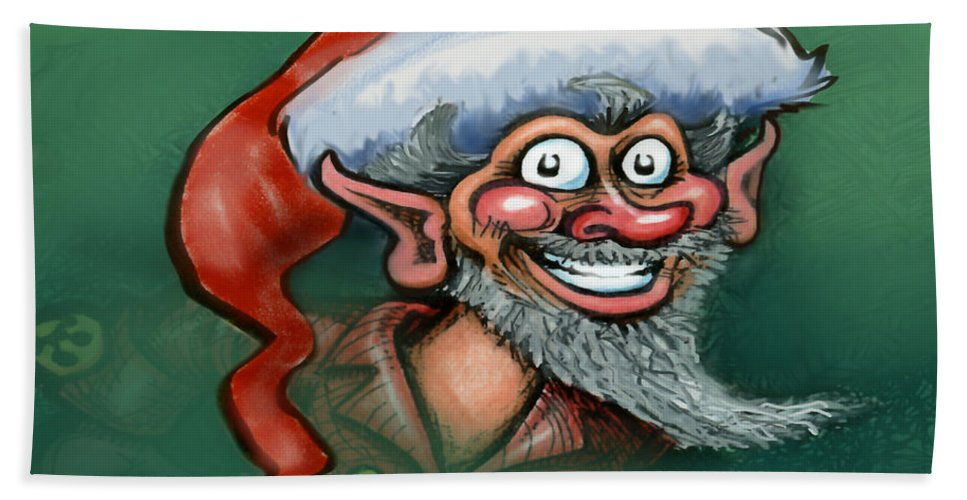 Elf Hand Towel featuring the digital art Christmas Elf by Kevin Middleton