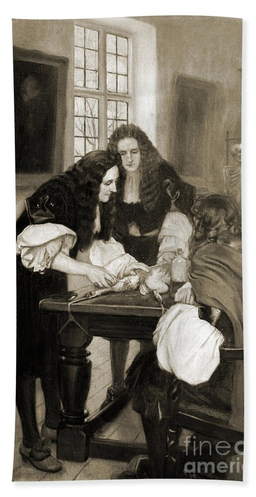 Historic Hand Towel featuring the photograph Christopher Wren Injects Drugs by Wellcome Images