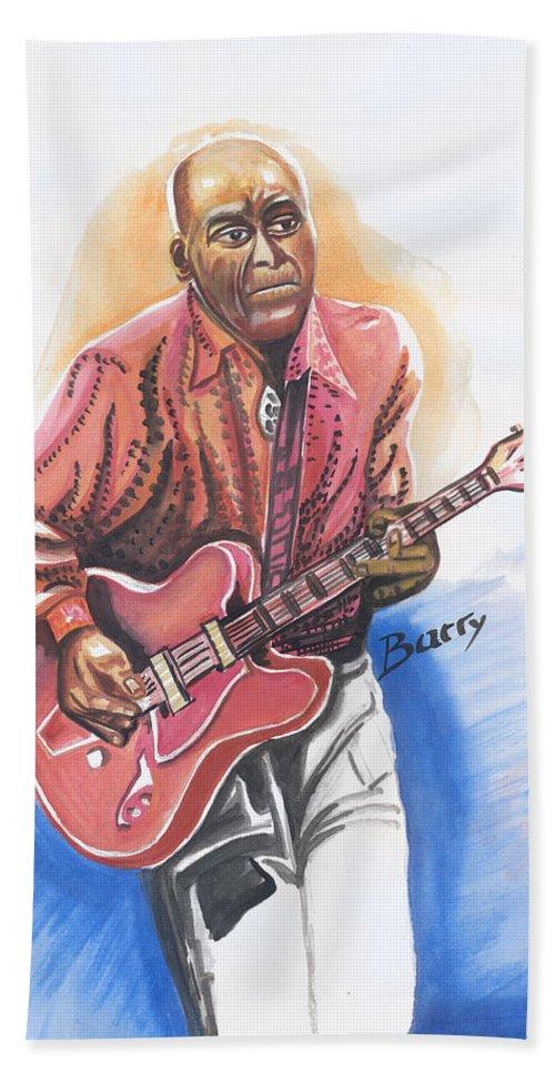 Music Bath Sheet featuring the painting Chuck Berry by Emmanuel Baliyanga