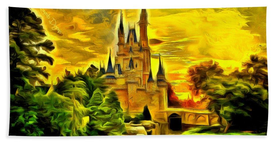 Administration Hand Towel featuring the painting Cinderella Castle - Van Gogh Style by Leonardo Digenio