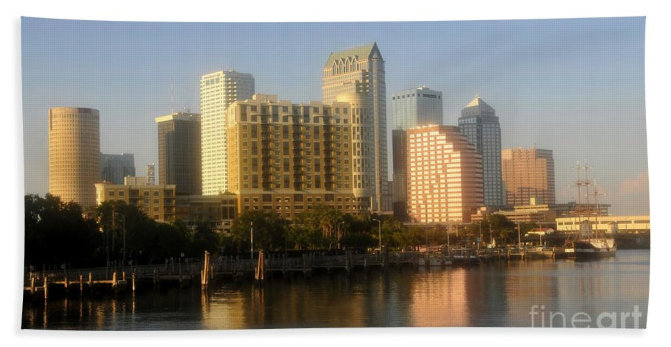 Tampa Florida Bath Sheet featuring the photograph City By The Bay by David Lee Thompson