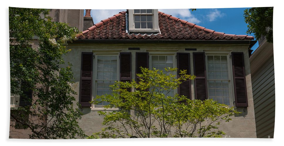 Charleston Hand Towel featuring the photograph Clay Tile Roof by Dale Powell