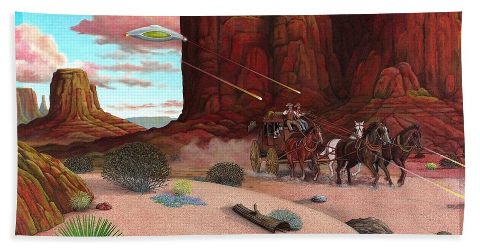 Cowboys Bath Sheet featuring the painting Close Encounter by Snake Jagger