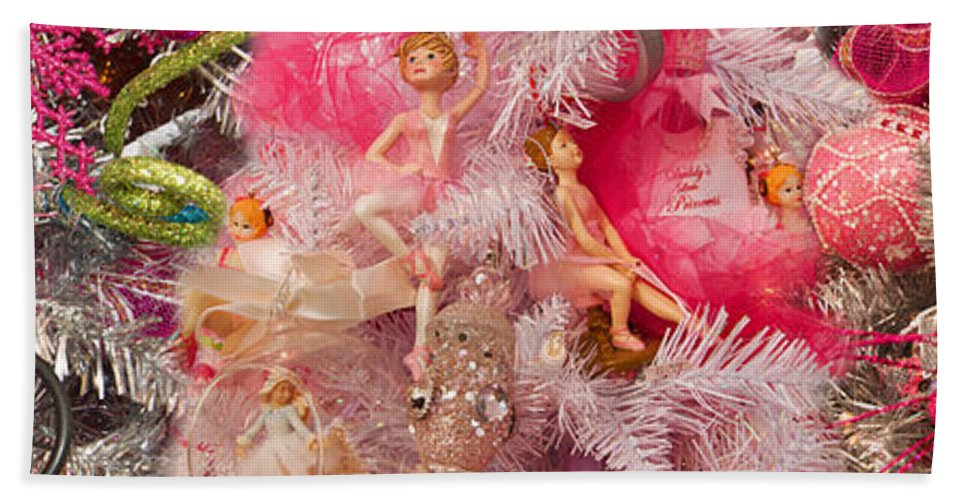 Photography Bath Sheet featuring the photograph Close-up Of Toys On Christmas Tree by Panoramic Images