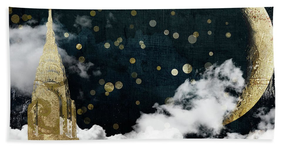New York City Hand Towel featuring the painting Cloud Cities New York by Mindy Sommers