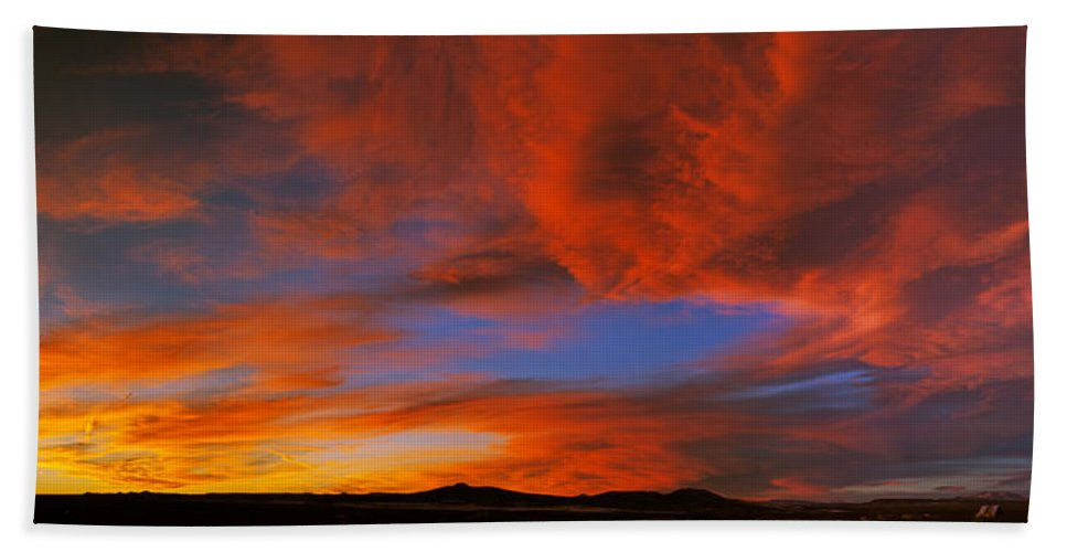 Photography Bath Sheet featuring the photograph Clouds In The Sky At Sunset, Taos, Taos by Panoramic Images