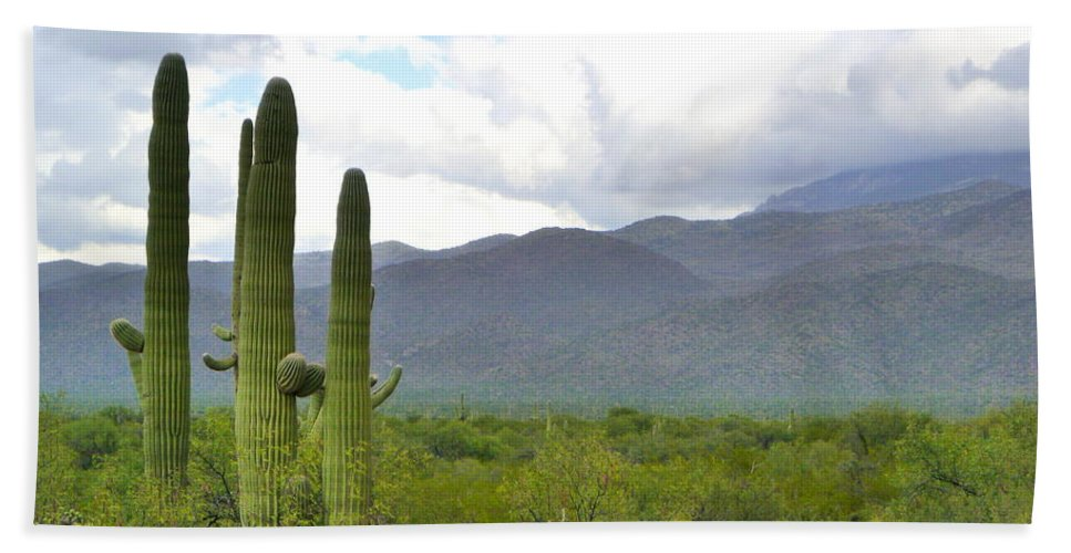 Tucson Bath Sheet featuring the photograph Clouds Over The Mountains by Teresa Stallings