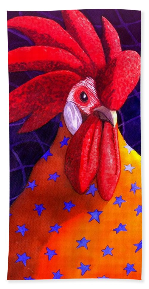 Rooster Hand Towel featuring the painting Cock A Doodle Dude by Catherine G McElroy