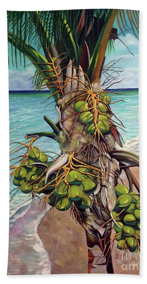 Coconuts Bath Sheet featuring the painting Coconuts on beach by Jose Manuel Abraham