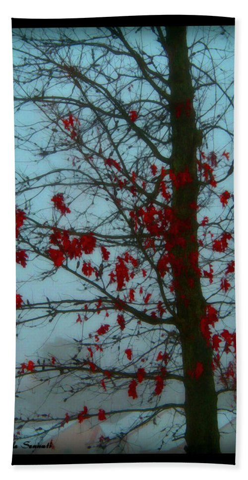 Tree Winter Nature Hand Towel featuring the photograph Cold Day In Winter by Linda Sannuti