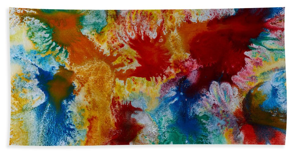 Kukka-maaria Lehto Hand Towel featuring the painting Color Abstracts by Kukka Lehto