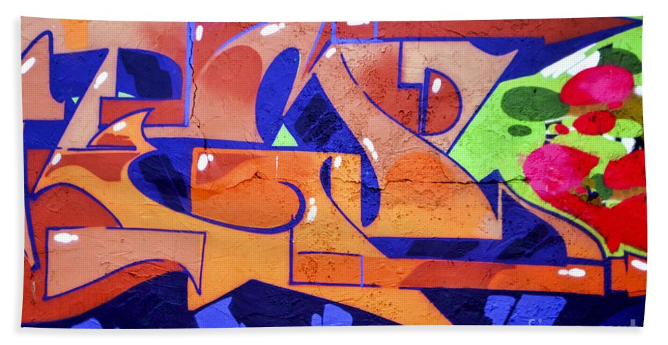 Red Bath Sheet featuring the photograph Colorful Abstract Street Art by Tomi Junger