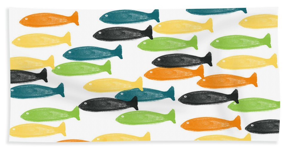 Fish Bath Towel featuring the painting Colorful Fish by Linda Woods