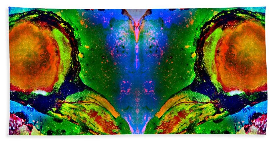 Abstract Hand Towel featuring the painting Colorful Life by Jolanta Anna Karolska