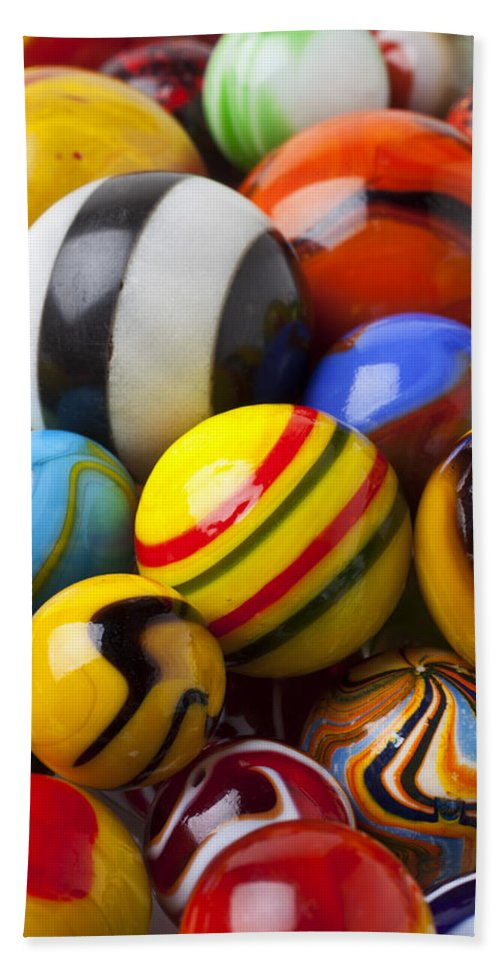 Marbles Hand Towel featuring the photograph Colorful Marbles by Garry Gay