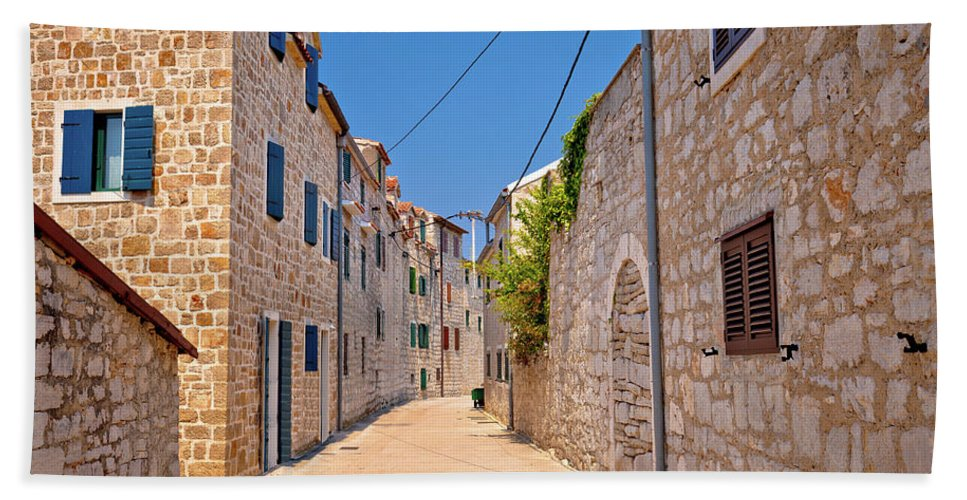 Prvic Bath Sheet featuring the photograph Colorful Mediterranean Stone Street Of Prvic Island by Brch Photography