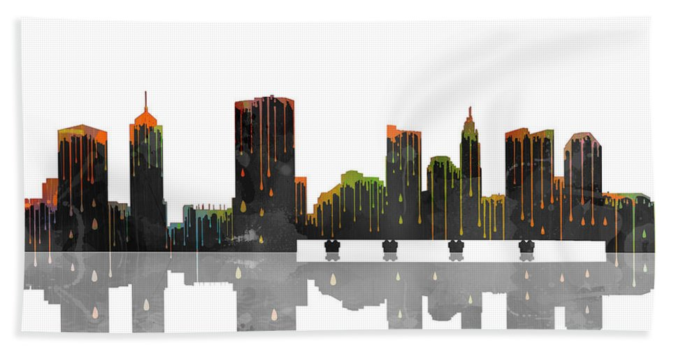 Columbus Ohio Skyline Bath Sheet featuring the digital art Columbus Ohio Skyline by Marlene Watson