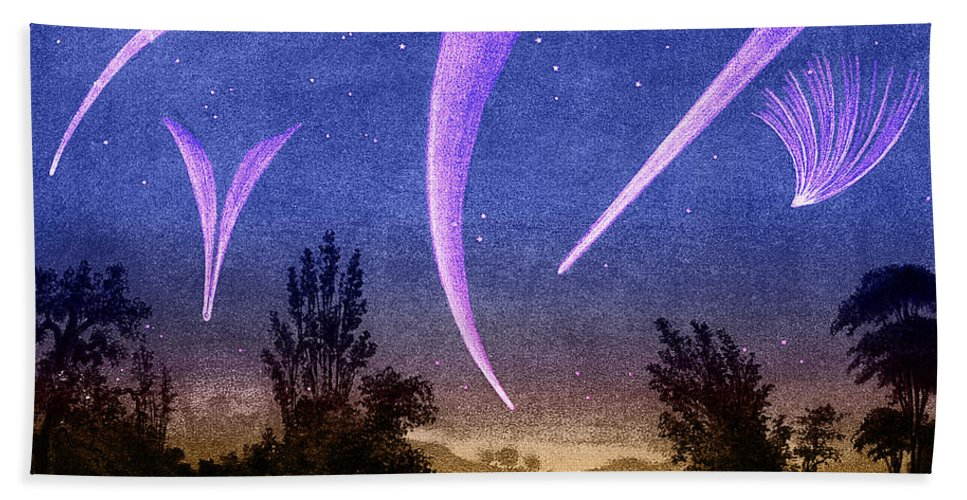 Historic Hand Towel featuring the photograph Comets In Night Sky by Science Source