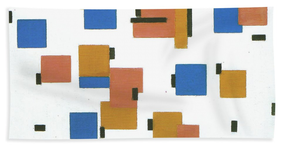 Composition With Colours B Piet Mondrian Bath Sheet featuring the painting Composition With Colours by MotionAge Designs