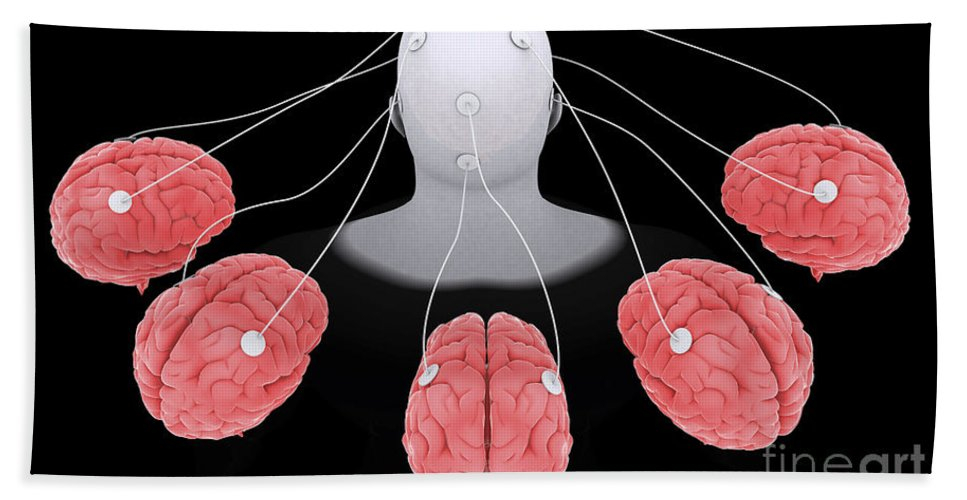 Horizontal Bath Sheet featuring the digital art Conceptual Image Of Multi-brain by Stocktrek Images