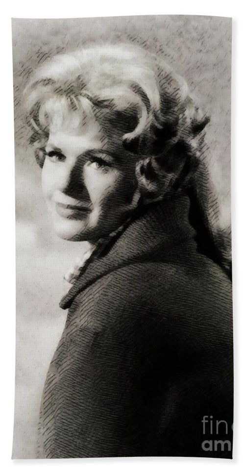 Connie Hand Towel featuring the painting Connie Stevens, Vintage Actress by John Springfield