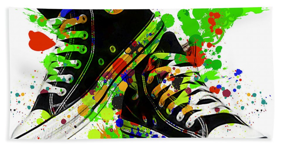 Converse Hand Towel featuring the mixed media Converse All Stars by Marvin Blaine