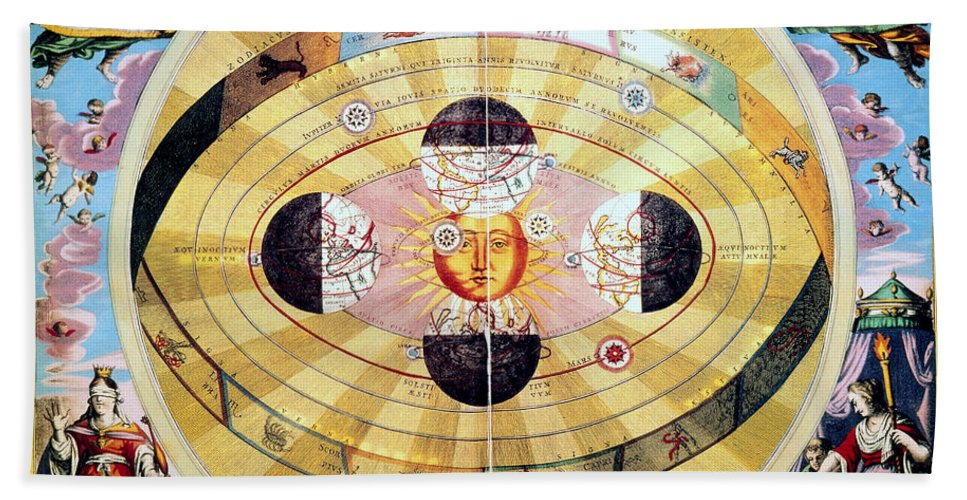 1660 Hand Towel featuring the photograph Copernican Universe, 1660 by Granger