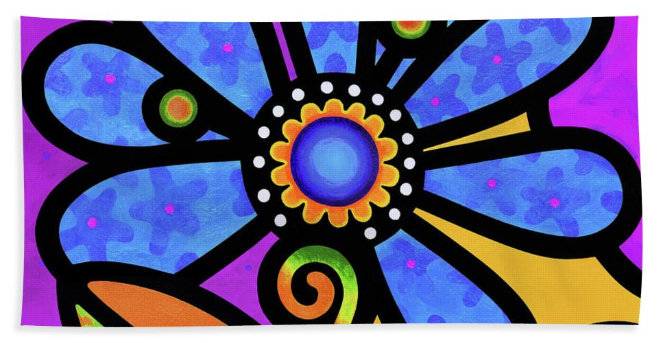 Flower Bath Sheet featuring the painting Cosmic Daisy In Blue by Steven Scott