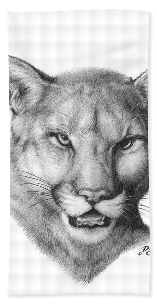 Cougar Hand Towel featuring the drawing Cougar by Larry-DEZ- Dismang