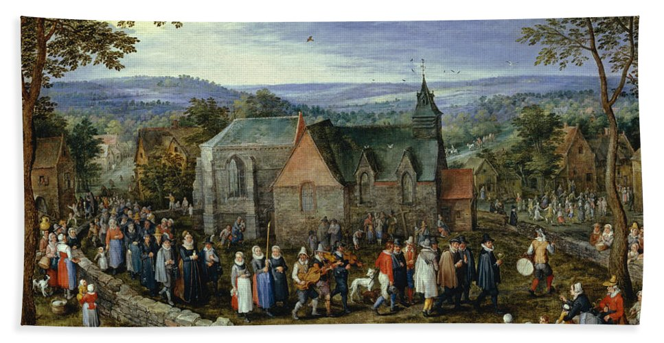 Animal Bath Sheet featuring the painting Country Wedding by Jan Brueghel the Elder