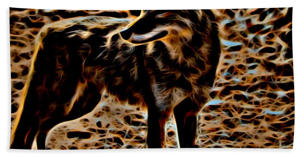 Coyote Hand Towel featuring the photograph Coyote by David Pine
