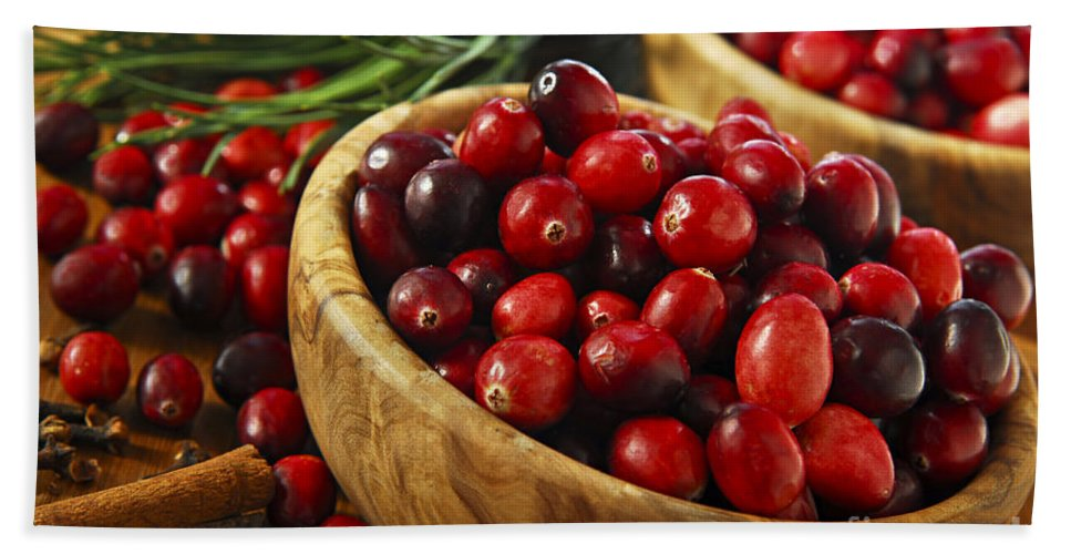 Cranberry Hand Towel featuring the photograph Cranberries In Bowls by Elena Elisseeva