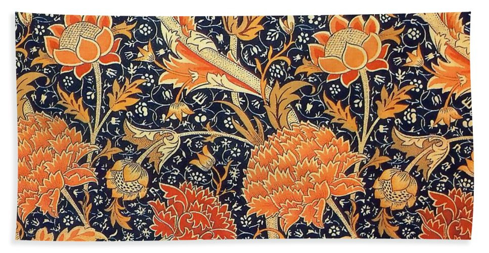 William Morris Bath Sheet featuring the painting Cray Pattern by William Morris