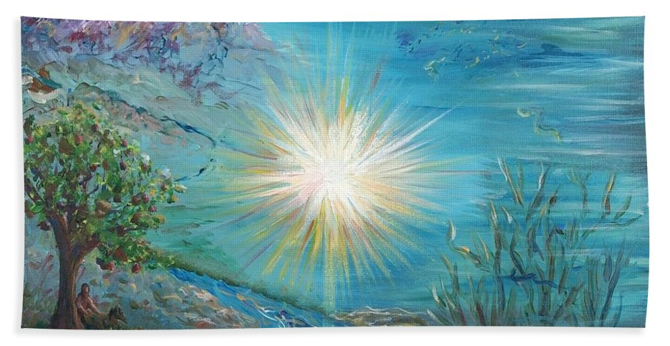 Creation Bath Sheet featuring the painting Creation by Nadine Rippelmeyer