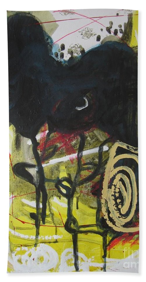 Abstract Paintings Hand Towel featuring the painting Crescent2 by Seon-Jeong Kim