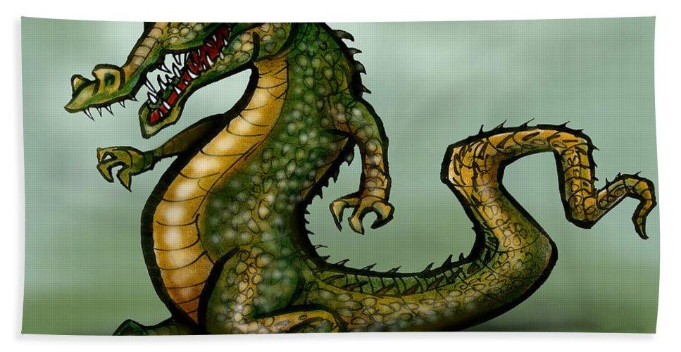 Crocodile Hand Towel featuring the digital art Crocodile by Kevin Middleton